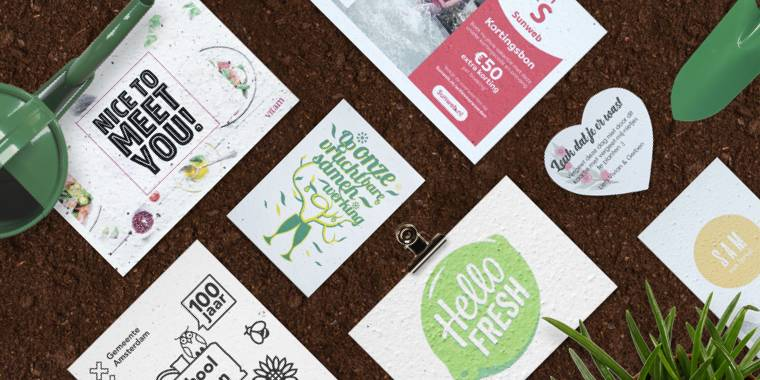 Your own design with logo, company vision, invitation or business card on growing paper.