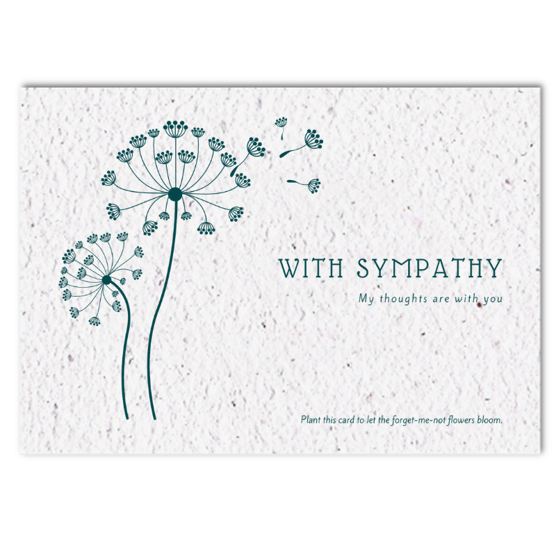 Sympathy card with forget me not seeds (4x)